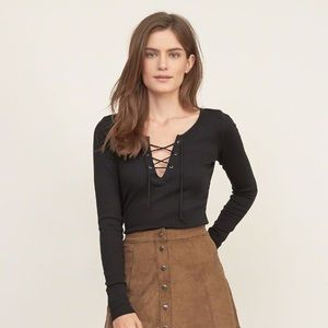abercrombie lace up long sleeve top
